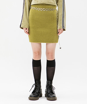KNITTED SLIM MINI SKIRT [OLIVE GREEN]