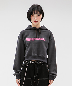 [NAPPING] WAVY LOGO CROP HOODIE [CHARCOAL]