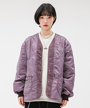 CORDUROY MIXED QUILTING JACKET [PURPLE]