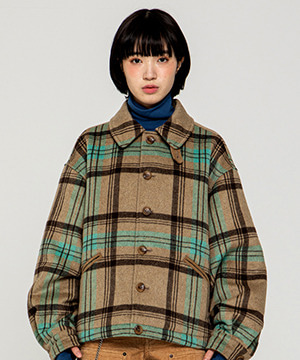 CORDUROY POINT CHECK SHORT COAT [BEIGE]