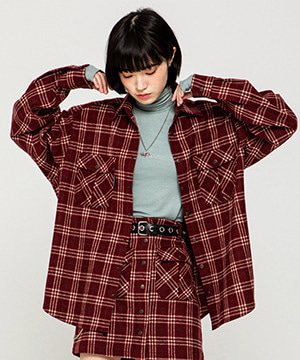 RNHI SNAP FLY CHECK LOOSE SHIRTS [RED WINE]