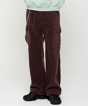 CARGO POCKET FLEECE EASY PANTS [DARK PURPLE]