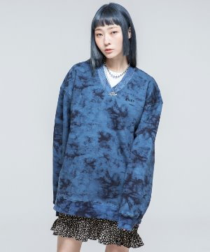 RNHI TIE-DYE V NECK SWEAT SHIRT [BLUE]
