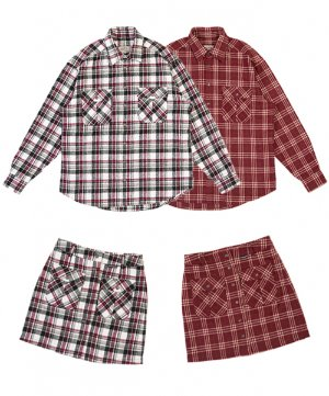 [SET] RNHI SNAP FLY CHECK SHIRTS + SKIRT [RED WINE/ WHITE WINE]