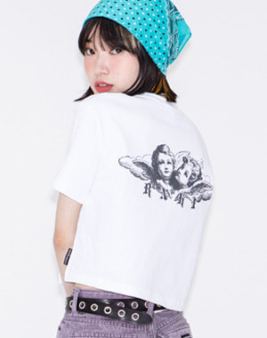 ANGEL PRINTING CROP TEE [WHITE]