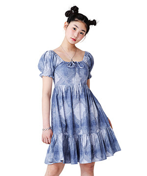 PUFF SLEEVE FLARE DRESS [BLUE]