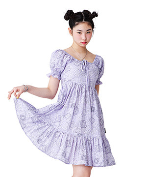PUFF SLEEVE FLARE DRESS [PURPLE]
