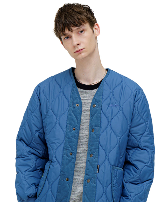 [10/26 예약배송] CORDUROY MIXED QUILTING PARKA [BLUE]