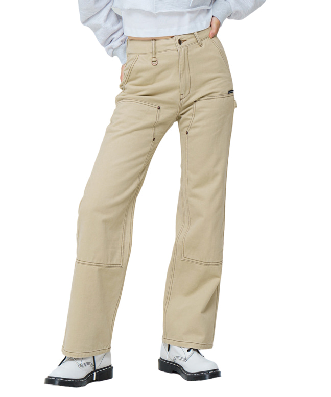 [UNISEX] STITCH POINT COTTON CARPENTER PANTS [WHITE BEIGE]