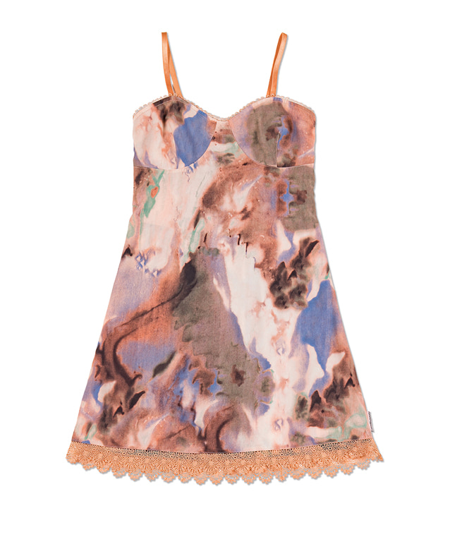 LACE POINT DYED MINI DRESS [CORAL MULTI]