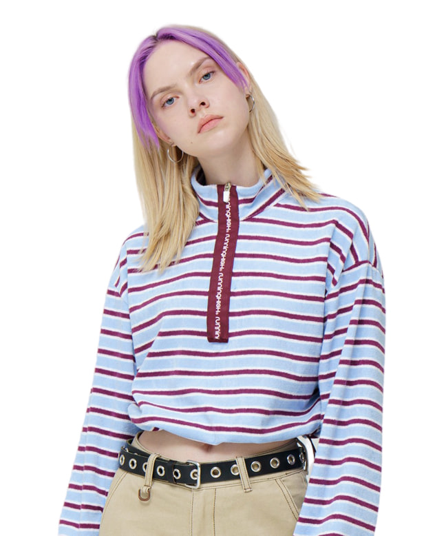 TOWEL FABRIC STRIPE ZIP UP SWEAT SHIRT [WINE]
