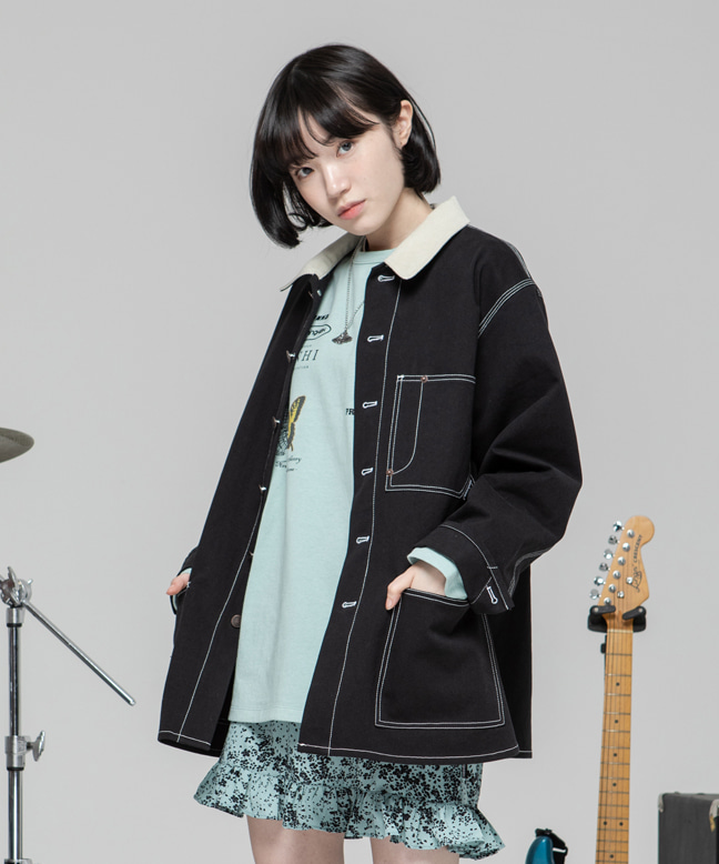 STITCH POINT COTTON WORK JACKET [BLACK]