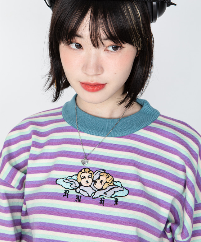 ANGEL EMBROIDERY STRIPE CROP SWEATER [MINT]