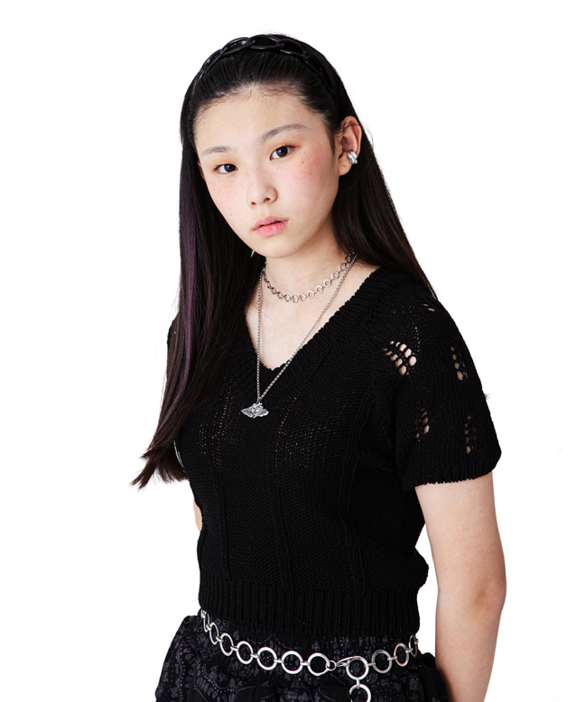 NET PATTERN KNIT TOP [BLACK]