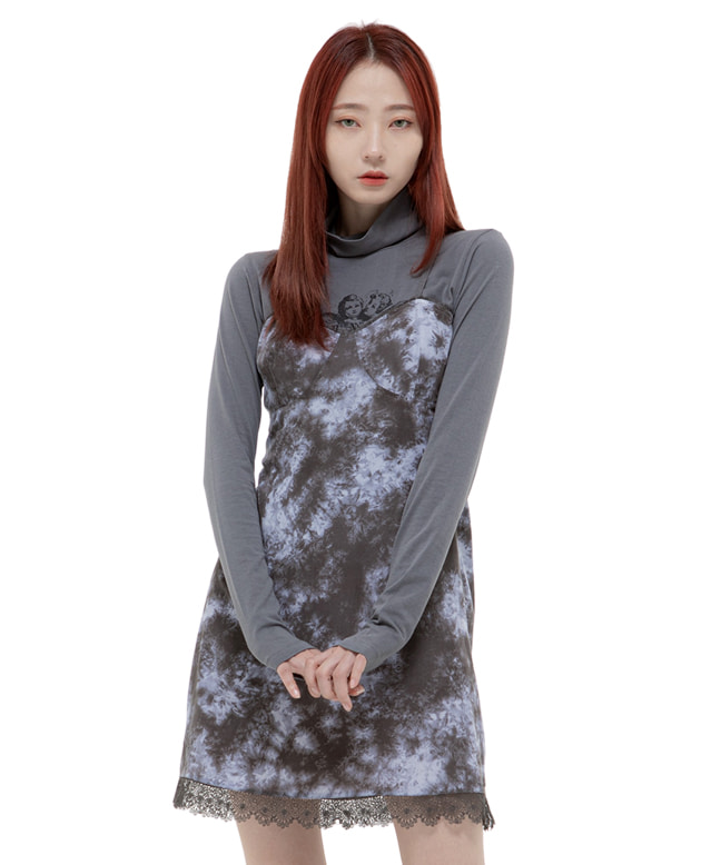 ANGEL TURTLE NECK SLIM TOP [CHARCOAL]