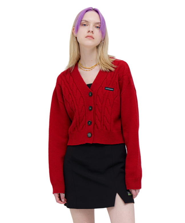 LAMBs WOOL CABLE CROP CARDIGAN [RED]