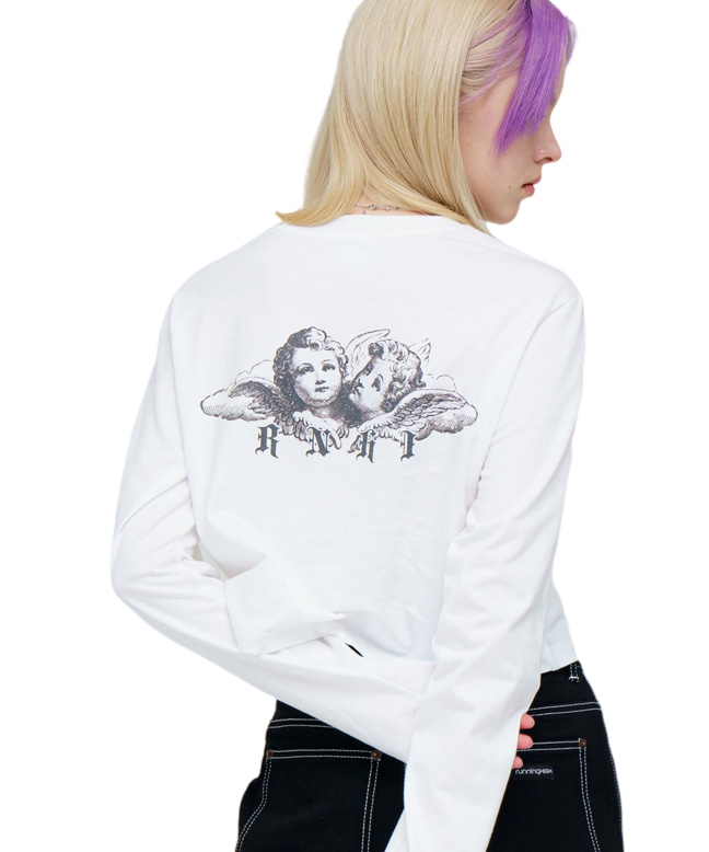 ANGEL CROP L/S TEE [WHITE]