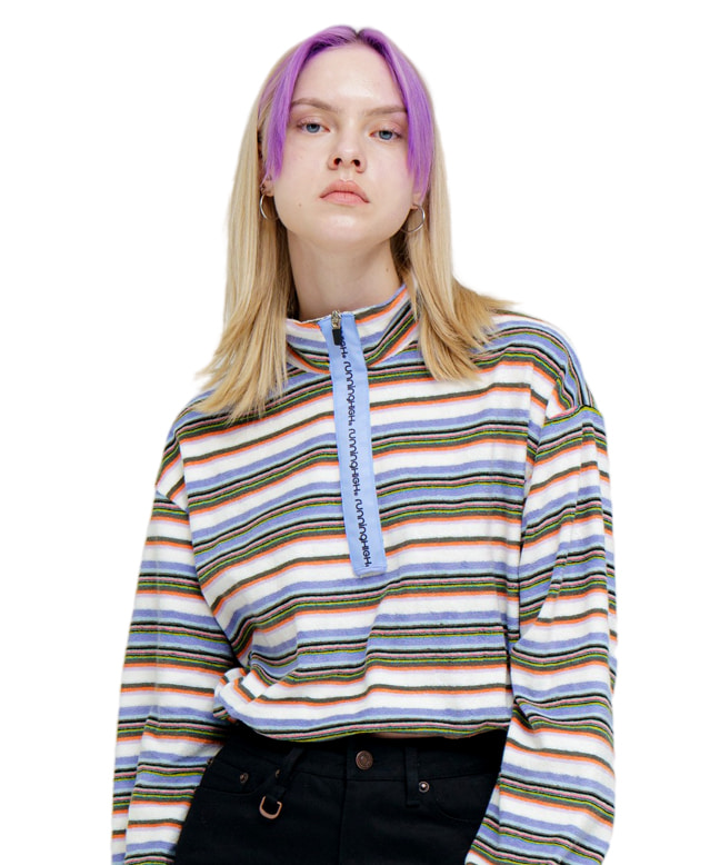 TOWEL FABRIC STRIPE ZIP UP SWEAT SHIRT [LIGHT PURPLE]