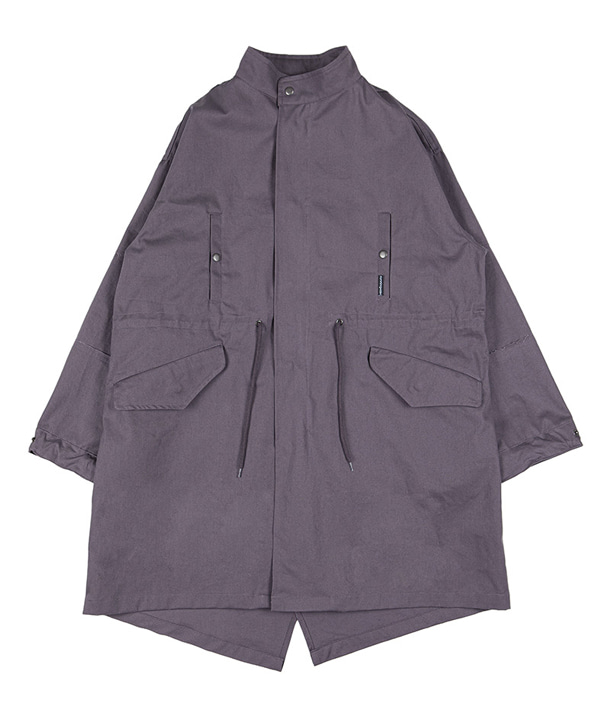TWILL COTTON FISHTAIL LONG COAT [DARK PURPLE]