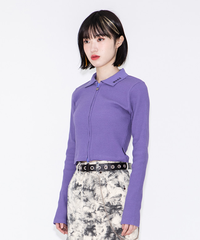 RNHI COLLAR ZIP UP SLIM TOP [PURPLE]