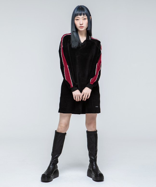 RNHI COLLAR VELVET DRESS [BLACK]