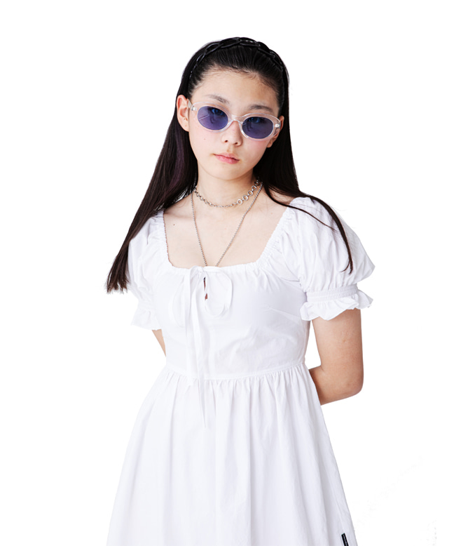 PUFF SLEEVE FLARE DRESS [WHITE]