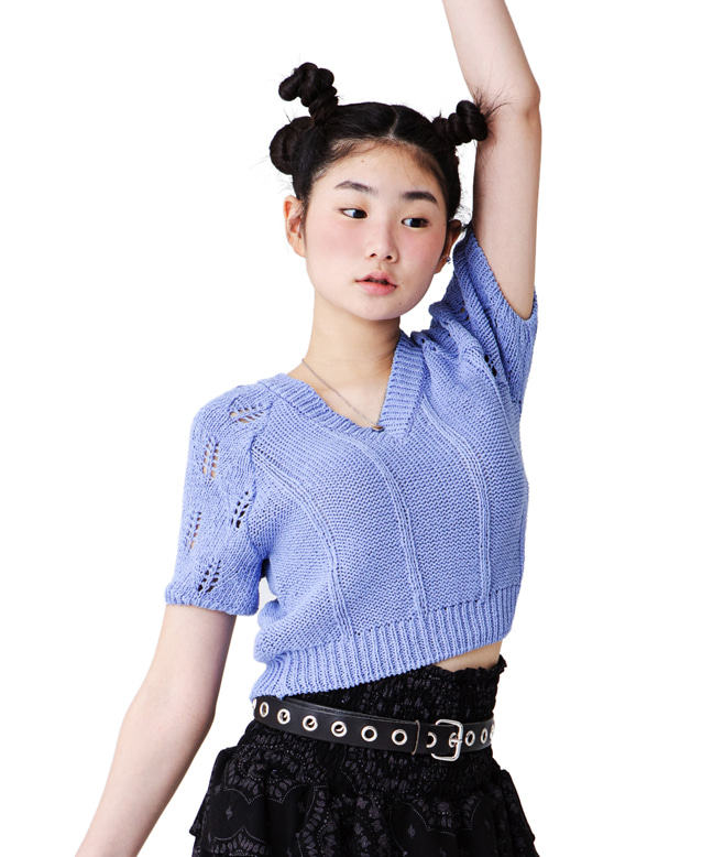 NET PATTERN KNIT TOP [BLUE PURPLE]