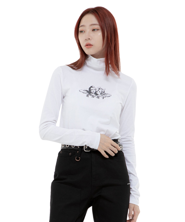 ANGEL TURTLE NECK SLIM TOP [WHITE]