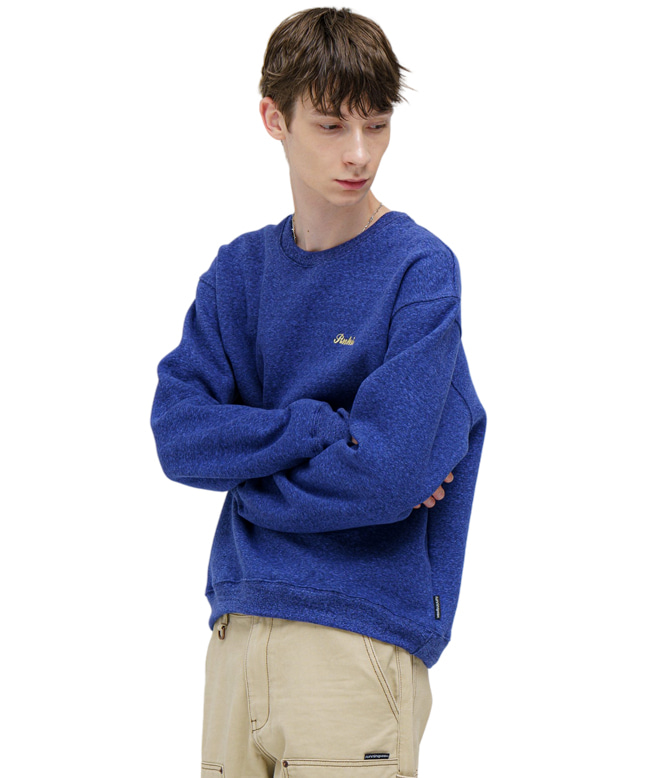 MELANGE COLOR SWEAT SHIRT [DARK BLUE]