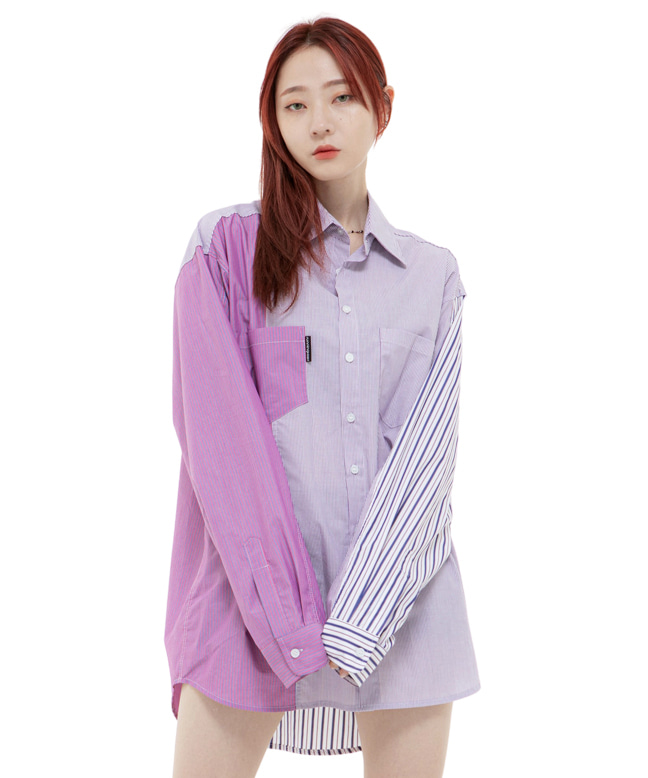 COLOR BLOCK STRIPE OVERSIZED SHIRTS [PINK]