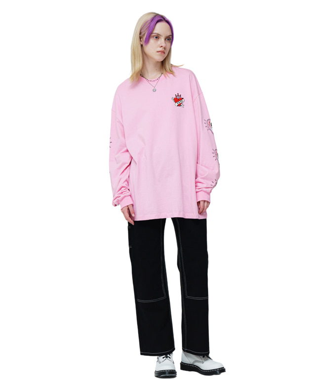 [SUZANI] MEXICAN HEART L/S TEE [PINK]