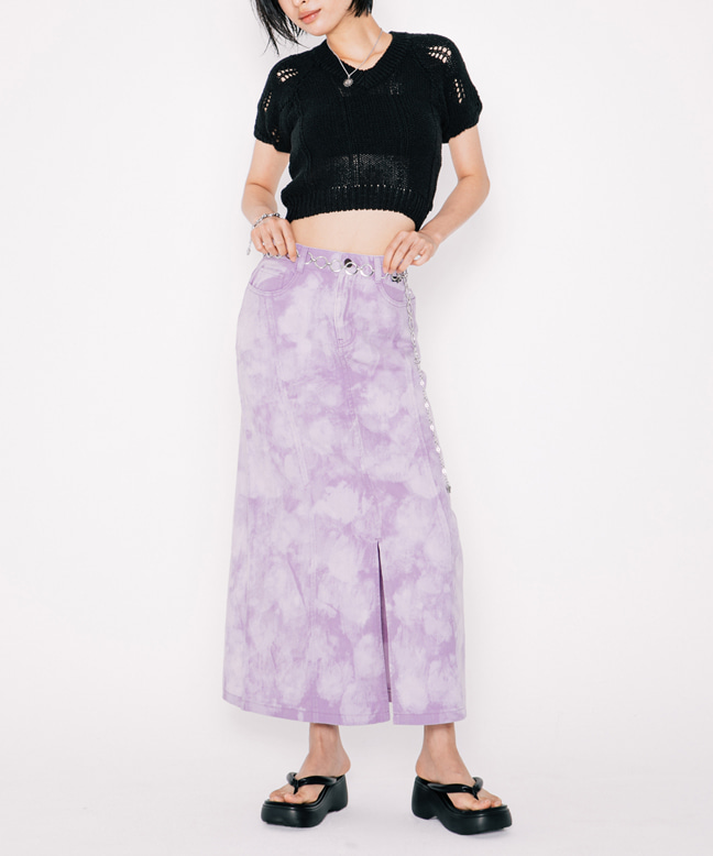 BLEACH WASHED DENIM LONG SKIRT [LILAC]