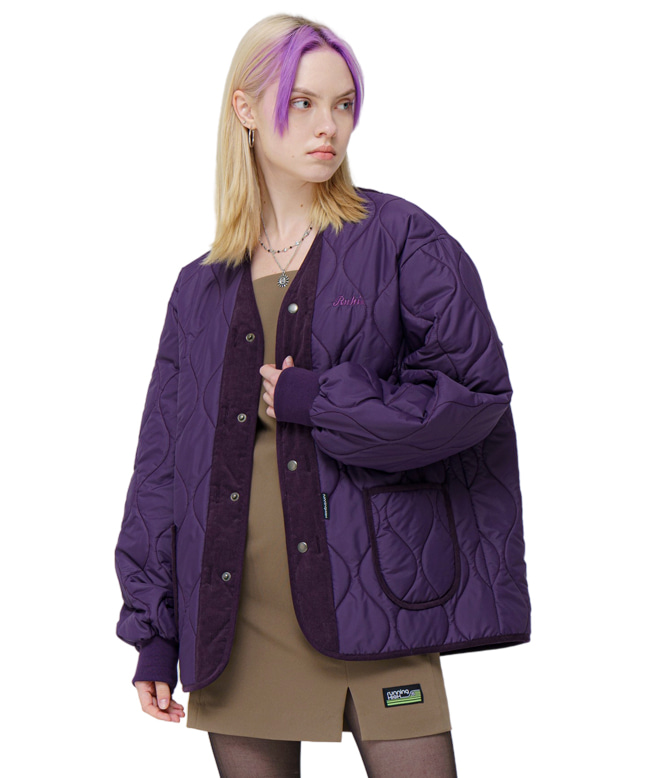 [10/26 예약배송] CORDUROY MIXED QUILTING PARKA [PURPLE]
