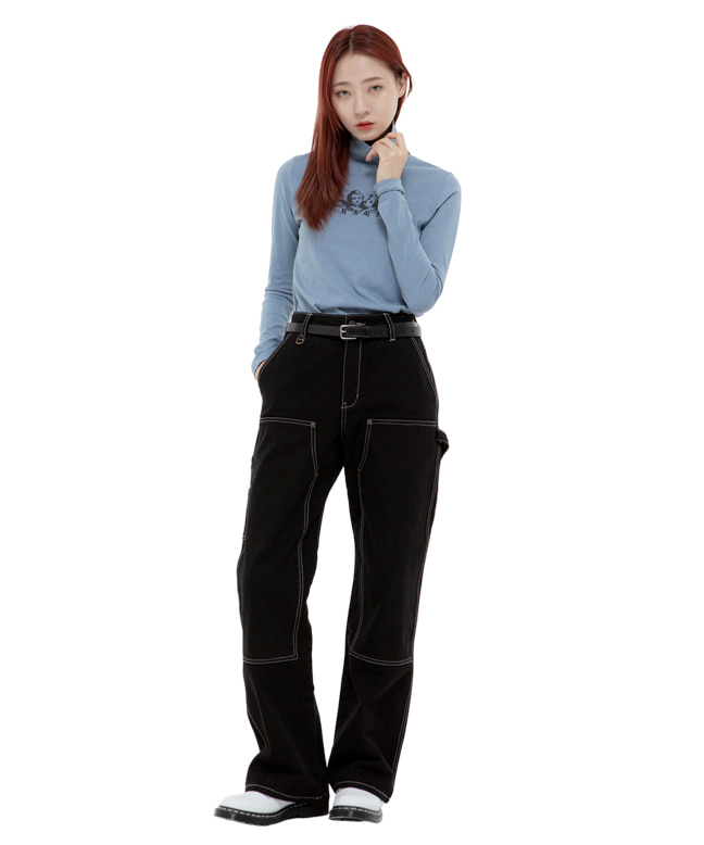 ANGEL TURTLE NECK SLIM TOP [BLUE]