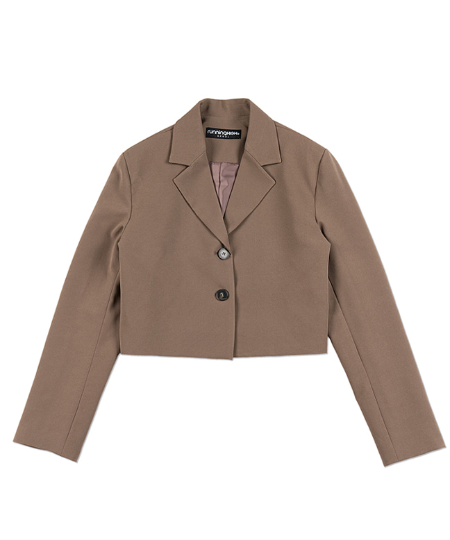 TWO BUTTON CROP BLAZER [MOCHA BROWN]