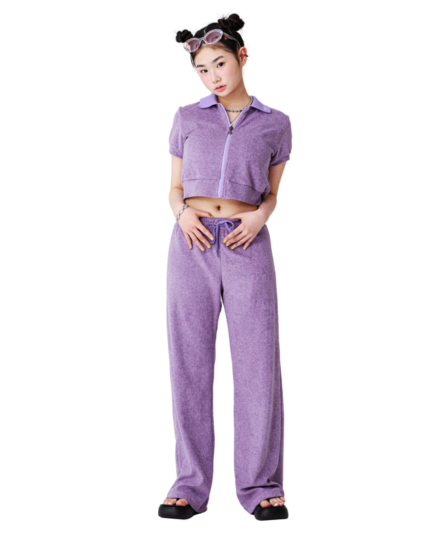 TOWEL FABRIC COLLAR ZIP UP TOP [PURPLE]