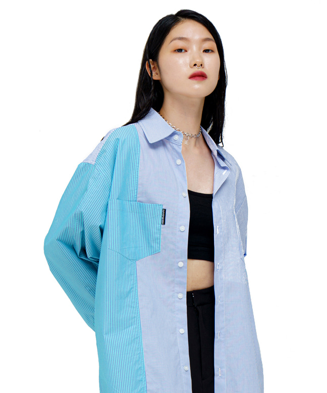COLOR BLOCK STRIPE OVERSIZED SHIRTS [BLUE]