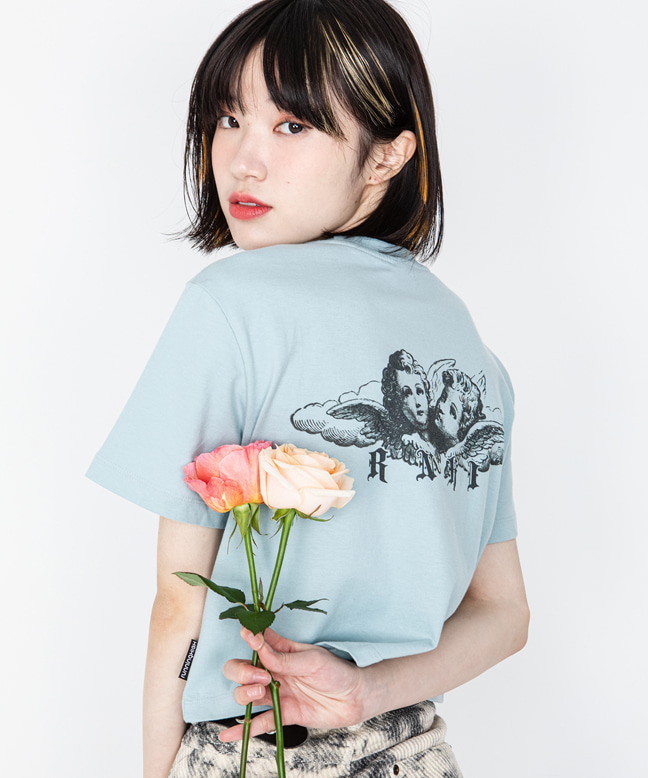 ANGEL PRINTING CROP TEE [MINT BLUE]