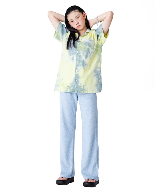 COLOR EMBROIDERY TIE-DYE LINEN SHIRTS [YELLOW MINT]