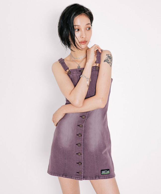 TINT WASHED SLEEVELESS DENIM DRESS [PURPLE]
