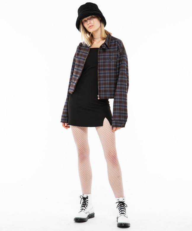 RNHI CHECK CROP JUMPER [BROWN]