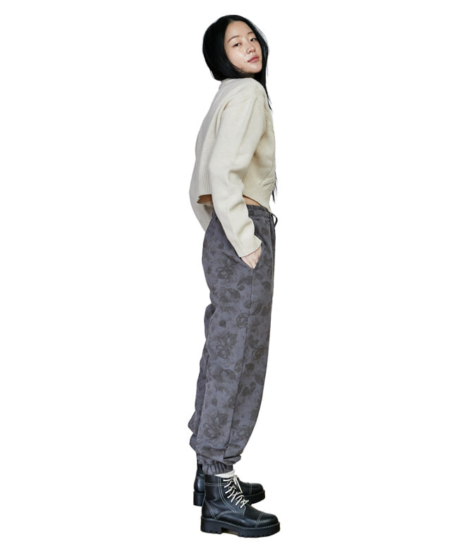 FLOWER PATTERN SWEAT PANTS [GREYISH BLUE]