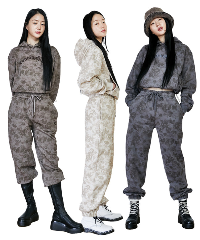 FLOWER PATTERN HOODIE + PANTS SET [3 COLORS]