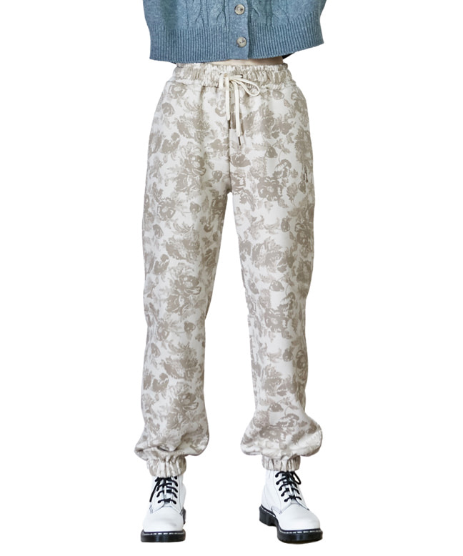 FLOWER PATTERN SWEAT PANTS [IVORY]