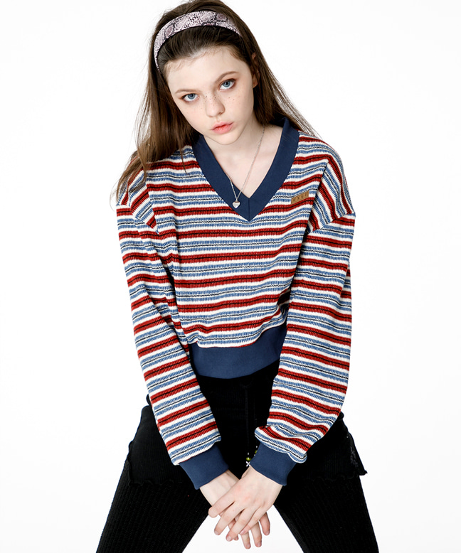 KNITTED V NECK CROP SWEAT SHIRT [BLUE]