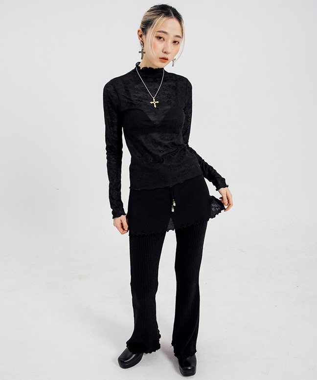 FLOWER PATTERN SEE-THROUGH SLIM TOP [BLACK]
