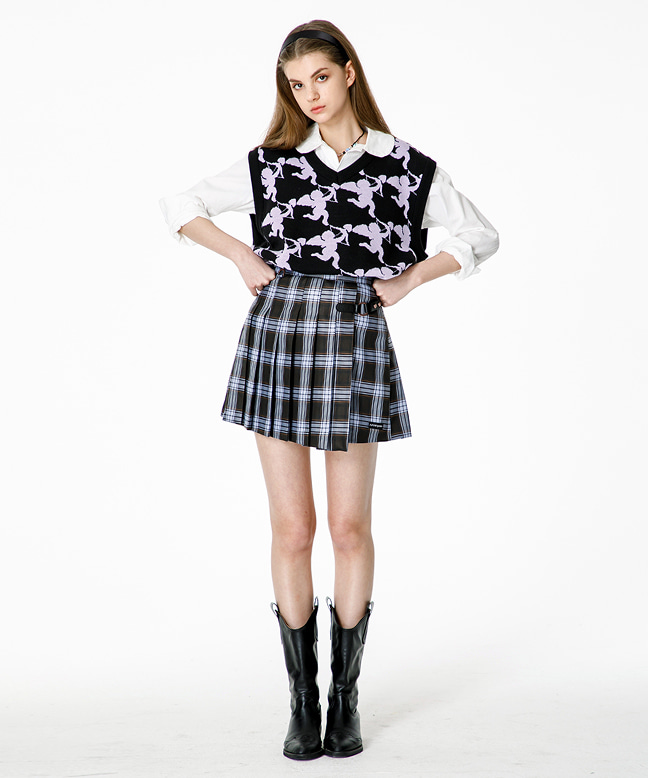 BUCKLE CHECK PLEATED SKIRT [BLACK]