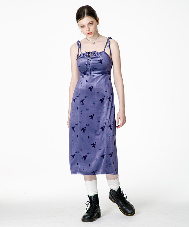 CUPID ANGEL SLEEVELESS VELVET DRESS [PURPLE]
