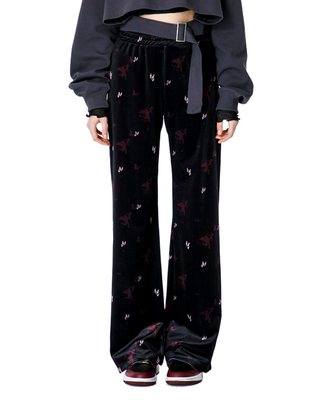 CUPID ANGEL VELVET EASY PANTS [BLACK]