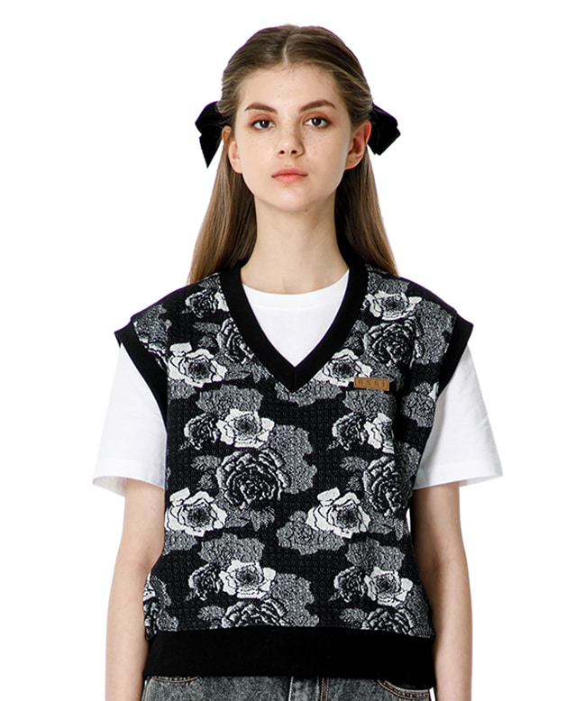 JACQUARD FABRIC FLOWER VEST [BLACK]